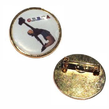 Premium Badge 25mm round gold clasp and printed dome